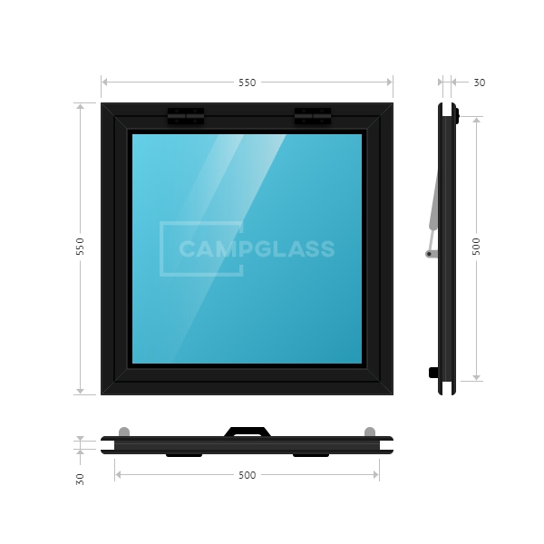 Откидное окно 550x500 мм